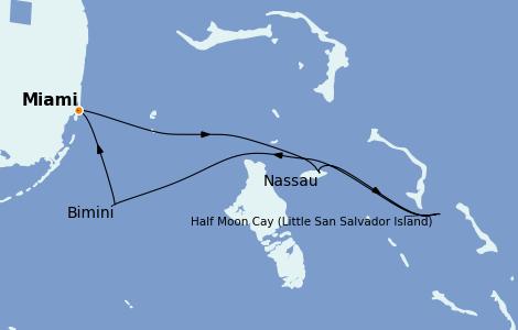Itinéraire de la croisière Bahamas 5 jours à bord du Carnival Sunrise