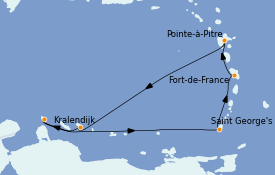 Itinéraire de la croisière Caraïbes de l'Est 8 jours à bord du Costa Diadema