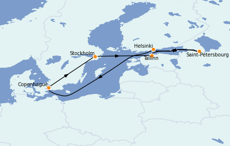 Itinéraire de la croisière Mer Baltique 7 jours à bord du Voyager of the Seas