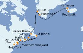 Itinéraire de la croisière Canada 17 jours à bord du Seven Seas Navigator