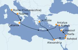 Itinéraire de la croisière Terre Sainte 16 jours à bord du Azamara Pursuit