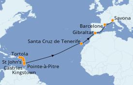 Itinéraire de la croisière Transatlantiques et Grands Voyages 2020 21 jours à bord du Costa Magica