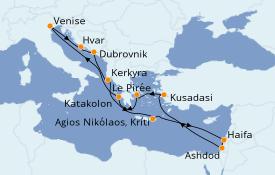 Itinéraire de la croisière Grèce & Adriatique 15 jours à bord du ms Veendam