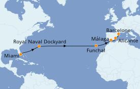Itinéraire de la croisière Méditerranée 15 jours à bord du Seven Seas Explorer