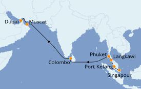 Itinéraire de la croisière Asie 13 jours à bord du Grand Princess