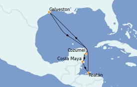 Itinéraire de la croisière Caraïbes de l'Ouest 8 jours à bord du Carnival Dream