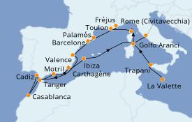 Itinéraire de la croisière Méditerranée 19 jours à bord du Seabourn Encore