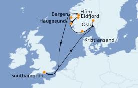 Itinéraire de la croisière Fjords & Norvège 13 jours à bord du Azamara Pursuit