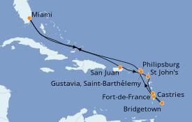 Itinéraire de la croisière Caraïbes de l'Est 13 jours à bord du Seven Seas Navigator