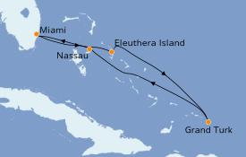 Itinéraire de la croisière Bahamas 6 jours à bord du Carnival Sensation
