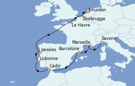 Itinéraire de la croisière Méditerranée 11 jours à bord du Costa Fascinosa