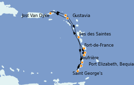 Itinéraire de la croisière Caraïbes de l'Est 13 jours à bord du Le Dumont d'Urville