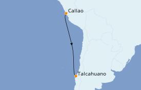 Itinéraire de la croisière Amérique du Sud 6 jours à bord du L'Austral