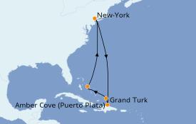 Itinéraire de la croisière Caraïbes de l'Est 9 jours à bord du Carnival Sunrise