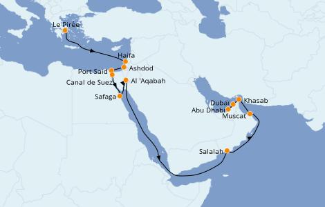 Itinéraire de la croisière Mer Rouge 18 jours à bord du Norwegian Jade
