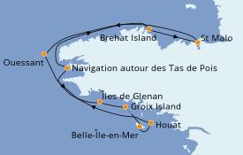Itinéraire de la croisière Atlantique 8 jours à bord du Le Jacques Cartier
