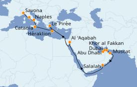 Itinéraire de la croisière Dubaï - Emirats 24 jours à bord du Costa Diadema