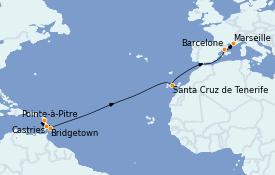Itinéraire de la croisière Transatlantiques et Grands Voyages 2023 14 jours à bord du Costa Fascinosa