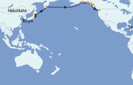 Itinéraire de la croisière Alaska 17 jours à bord du Norwegian Sun