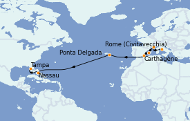 Itinéraire de la croisière Transatlantiques et Grands Voyages 2022 16 jours à bord du Celebrity Constellation
