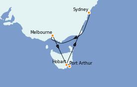 Itinéraire de la croisière Australie 2021 8 jours à bord du Emerald Princess