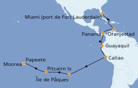 Itinéraire de la croisière Polynésie 25 jours à bord du Pacific Princess