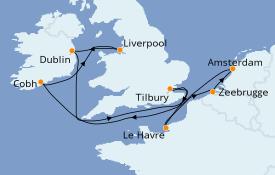 Itinéraire de la croisière Îles Britanniques 10 jours à bord du Norwegian Jade