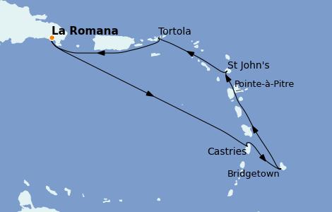 Itinéraire de la croisière Caraïbes de l'Est 7 jours à bord du Costa Pacifica