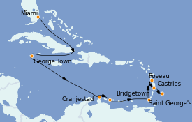 Itinéraire de la croisière Caraïbes de l'Est 13 jours à bord du MS Sirena