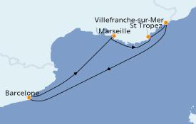 Itinéraire de la croisière Méditerranée 6 jours à bord du Azamara Journey