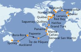 Itinéraire de la croisière Tour du Monde 2021 57 jours à bord du Sea Princess