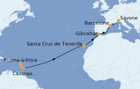 Itinéraire de la croisière Transatlantiques et Grands Voyages 2022 15 jours à bord du Costa Fascinosa