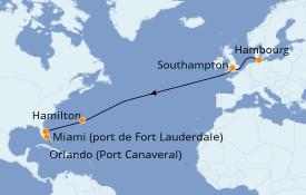 Itinéraire de la croisière Îles Britanniques 14 jours à bord du Queen Victoria