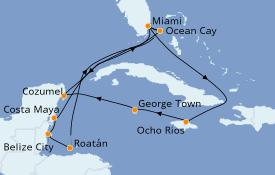 Itinéraire de la croisière Caraïbes de l'Ouest 15 jours à bord du MSC Meraviglia
