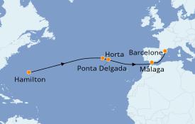 Itinéraire de la croisière Méditerranée 13 jours à bord du Silver Moon