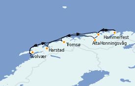 Itinéraire de la croisière Fjords & Norvège 11 jours à bord du Seabourn Venture