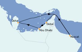 Itinéraire de la croisière Dubaï - Emirats 8 jours à bord du Costa Pacifica