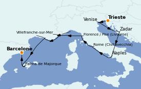 Itinéraire de la croisière Méditerranée 11 jours à bord du Marina
