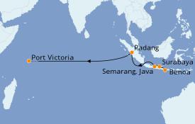 Itinéraire de la croisière Asie 14 jours à bord du Seabourn Sojourn