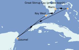Itinéraire de la croisière Bahamas 6 jours à bord du Norwegian Pearl