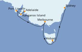 Itinéraire de la croisière Australie 2020 9 jours à bord du Sapphire Princess