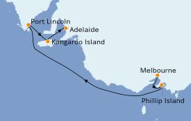 Itinéraire de la croisière Australie 2020 6 jours à bord du Sapphire Princess