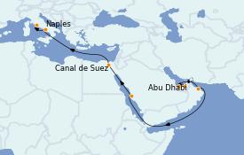 Itinerario de crucero Trasatlántico y Grande Viaje 2023 16 días a bordo del MSC World Europa