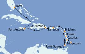 Itinéraire de la croisière Caraïbes de l'Est 11 jours à bord du Seven Seas Navigator