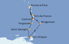 Itinéraire de la croisière Caraïbes de l'Est 8 jours à bord du MSC Preziosa