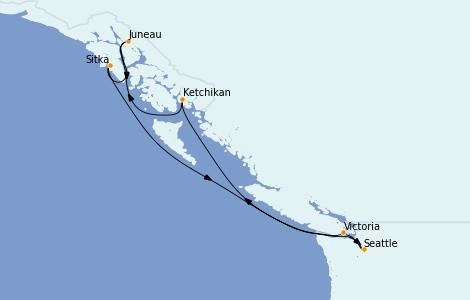 Itinéraire de la croisière Alaska 7 jours à bord du Regatta