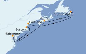 Itinéraire de la croisière Canada 9 jours à bord du Carnival Legend