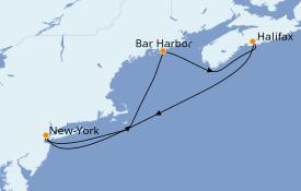 Itinéraire de la croisière Transatlantiques et Grands Voyages 2021 6 jours à bord du Norwegian Breakaway