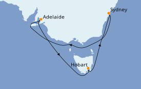Itinéraire de la croisière Australie 2021 9 jours à bord du Celebrity Solstice