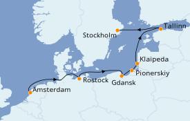Itinéraire de la croisière Mer Baltique 8 jours à bord du Norwegian Dawn